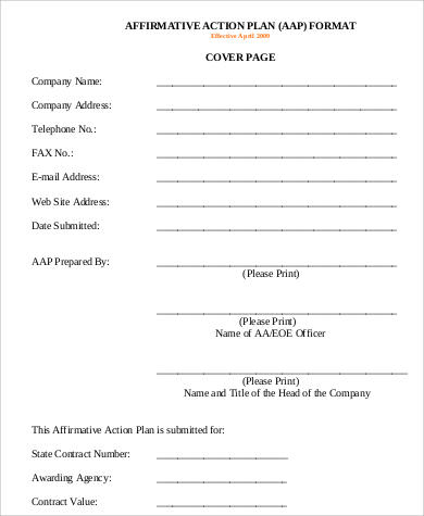 Affirmative Action Plan Sample  Free Sample Example Format