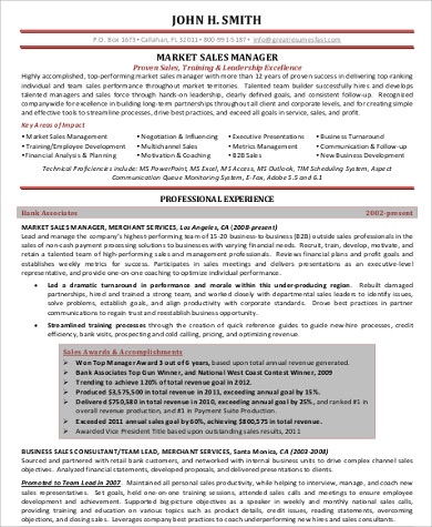 sales manager resume example1
