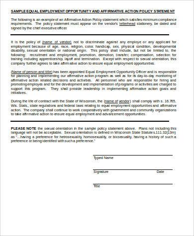 affirmative action plan statement
