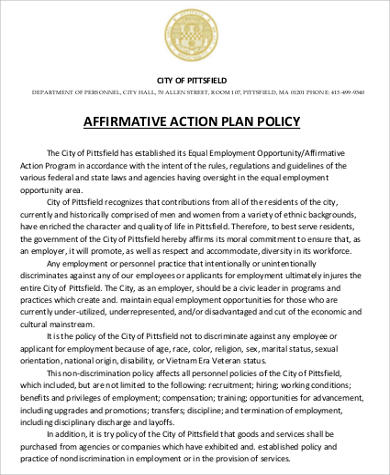 8 affirmative action plan samples sample templates for Affirmative action policy template