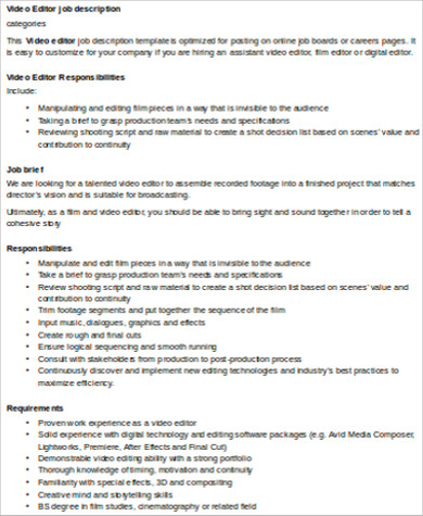 Video Editor Job Description Sample - 7+ Examples In Word, Pdf