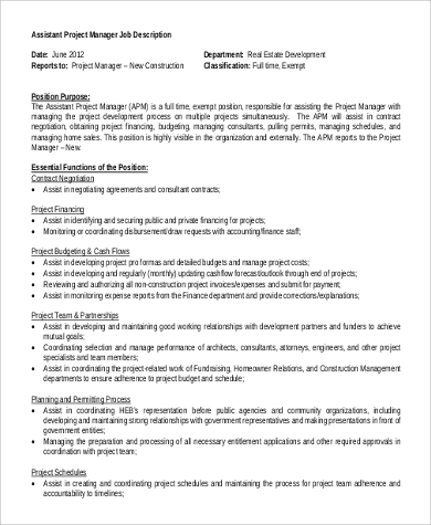 Assistant Engineer Job Description Sample   Examples In Pdf