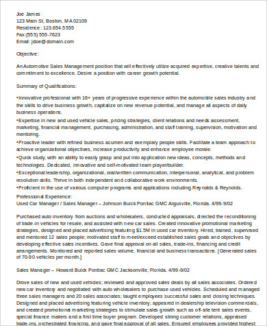 Sales Resume Sample 9 Examples In Word PDF