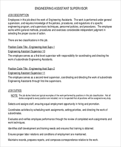 Assistant Engineer Supervisor Job Description Example