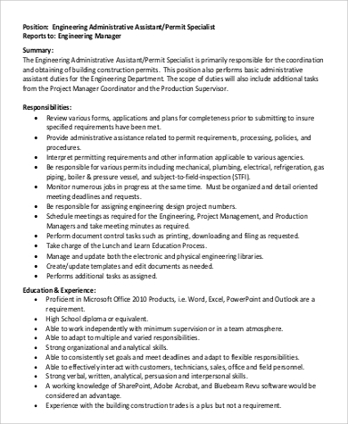 Assistant Engineer Job Description Sample   Examples In