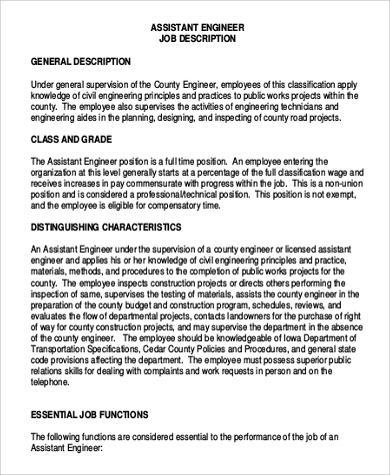 Superior Sample Assistant Engineer Job Description