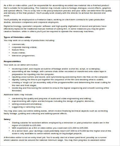Video Editor Job Description Sample   Examples In Word Pdf