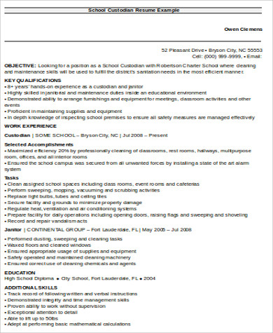Sample Custodian Resume - 8+ Examples In Word, Pdf