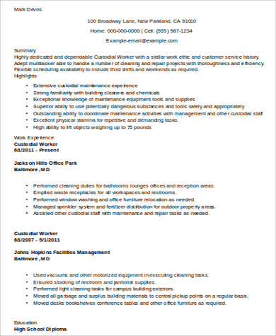 Sample Custodian Resume   Examples In Word Pdf