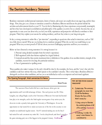 Personal Statement Residency Sample   Examples In Pdf