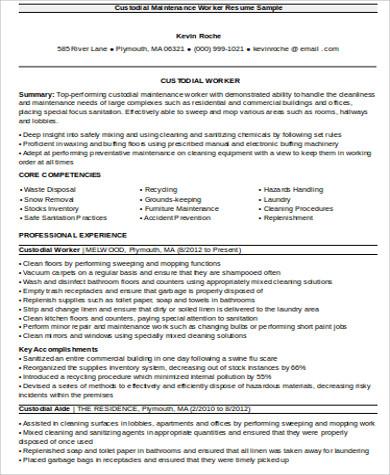 custodian maintenance resume