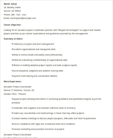 assistant project coordinator resume
