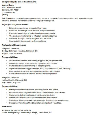 hospital custodian resume pdf