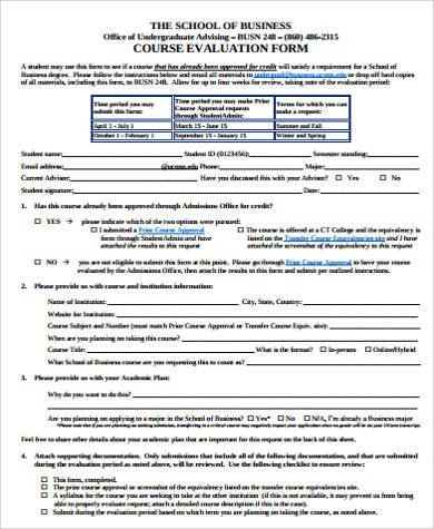sample course evaluation form 10 examples in word pdf