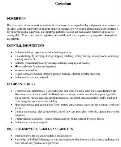 custodian qualifications resume