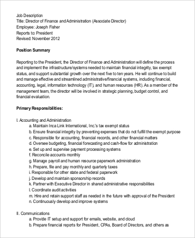 Finance Director Job Description Sample - 9+ Examples In Word, Pdf