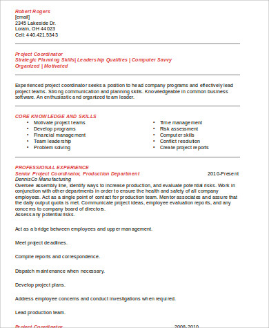 senior project coordinator resume
