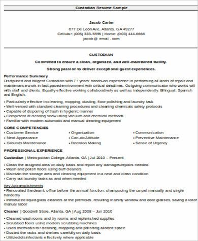 sle custodian resume 8 exles in word pdf