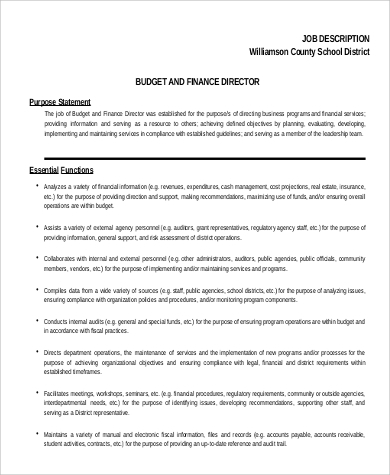 Finance Director Job Description Sample   Examples In Word Pdf