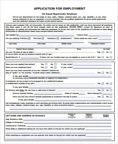 Printable Employment Application Sample   Examples In Word Pdf