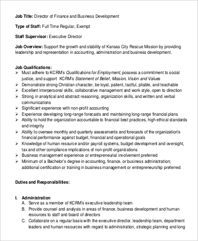 Director Of Finance And Business Development Job Description