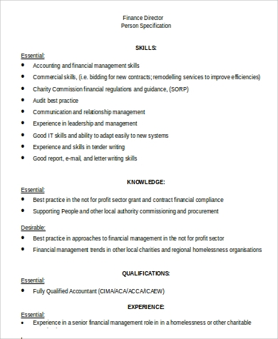 sample finance director job description in word - Practice Director Job Description