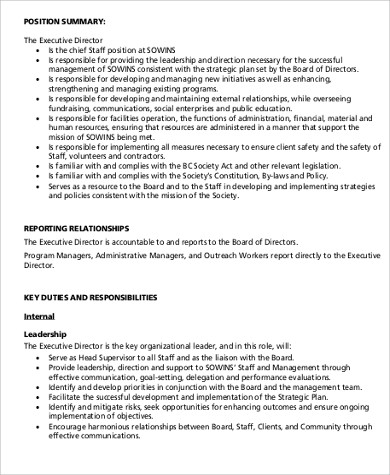 Hr Director Job Description Sample   Examples In Word Pdf