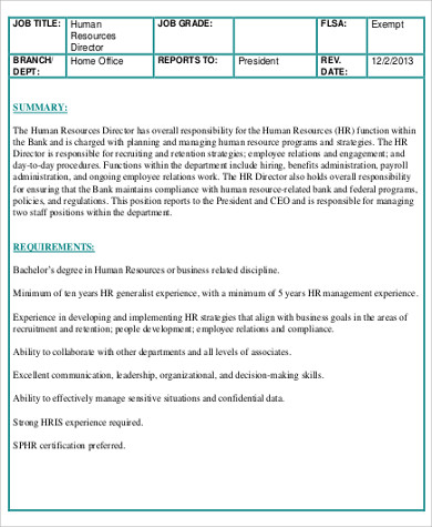 Hr Director Job Description | Hr Director Job Description Sample 11 Examples In Word Pdf