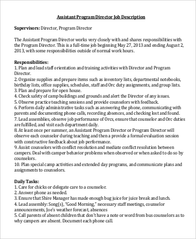 Assistant Director Job Description Sample   Examples In Word Pdf
