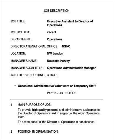 Assistant Director Job Description Sample - 9+ Examples In Word, Pdf