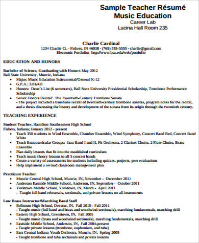 7 sample music resumes sample templates