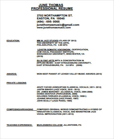 sample music resume 7 examples in word pdf