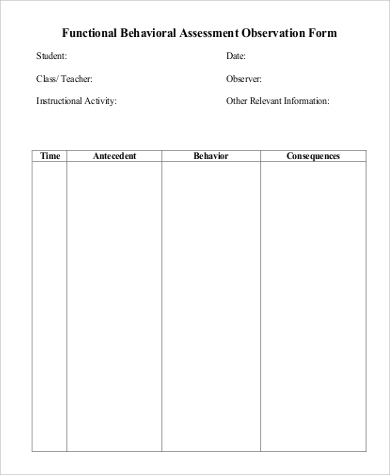 Functional Behavior Assessment Example   Samples In Word  Pdf