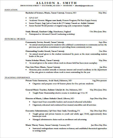 Sample Music Resume