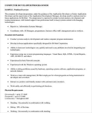 Attirant Sample Computer Programmer Job Description