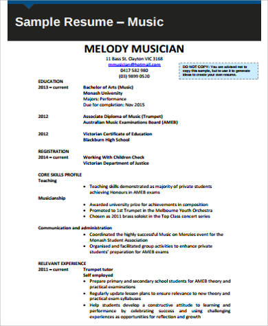 Sample Music Resume   Examples In Word Pdf