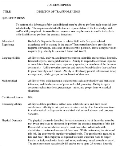 Safety Director Job Description Sample - 9+ Examples In Word, Pdf