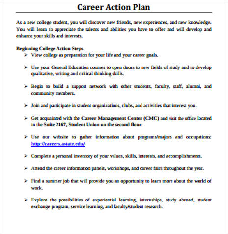 Sample Professional Career Action Plan  Personal Action Plan Template