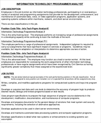 Programmer Analyst Job Description Information Technology Computer