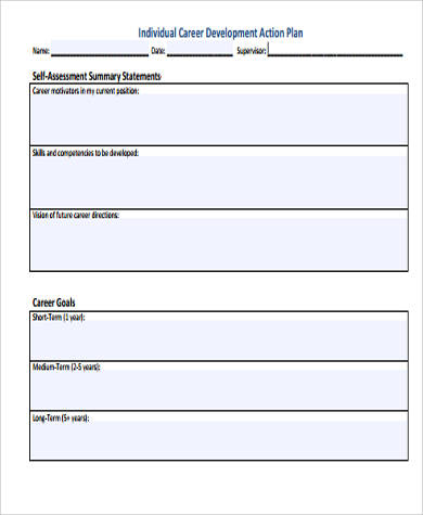 Individual Career Development Action Plan  Individual Action Plan Template