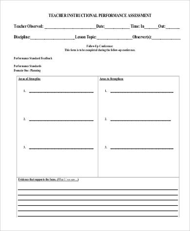 teacher performance assessment sample