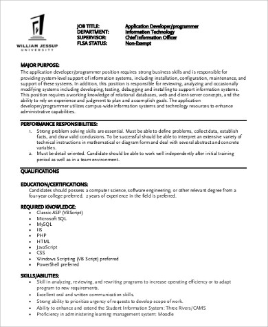 Computer Application Programmer Job Description