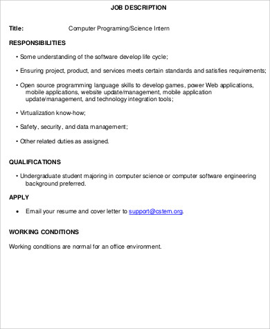 Computer Programmer Job Description Sample - 11+ Examples in Word, PDF