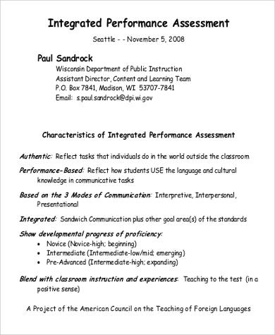 integrated performance assessment sample