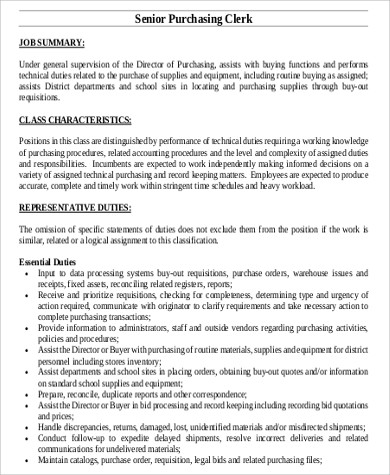 Purchasing Clerk Job Description Sample - 9+ Examples In Word, Pdf