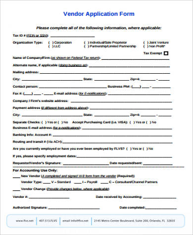 Sample Vendor Application Form - 9+ Examples In Word, Pdf