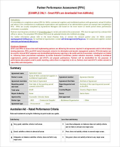 partner performance assessment