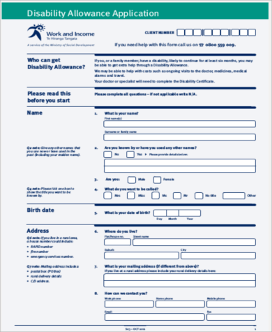 disability benefits application form pdf