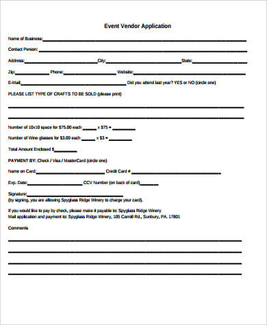 event vendor application template - 9 sample vendor application forms sample templates