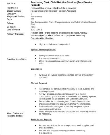 food purchasing clerk job description format